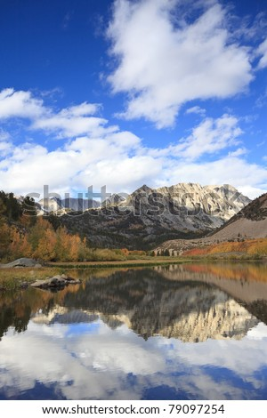 Autumn reflections at North Lake in Sierra Nevada mountains of California - stock photo