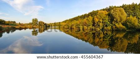 autumn river panorama - stock photo