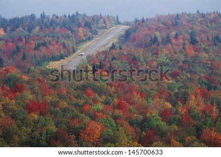 Autumn road along Scenic Highway US Route 150, WV - stock photo