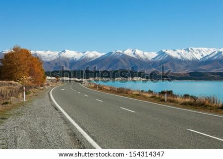 Autumn  Road.  Fairlie-Tekapo Road, Canterbury, New Zealand - stock photo