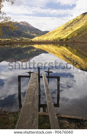 Autumn Rocky Mountain Reflections - stock photo