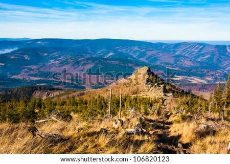 Autumn scenery of a rock (Giant Rocks, Jeseniky) - stock photo