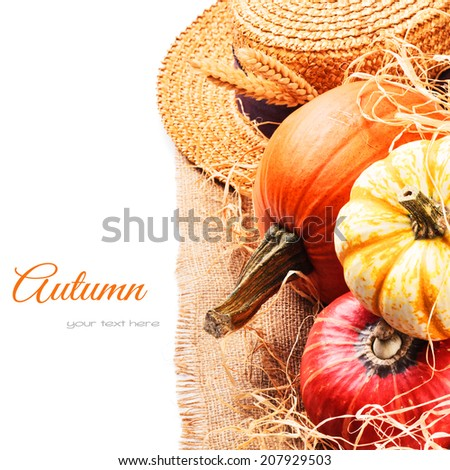 Autumn setting with harvested pumpkins and straw hat  - stock photo