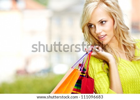 Autumn shopping woman - stock photo