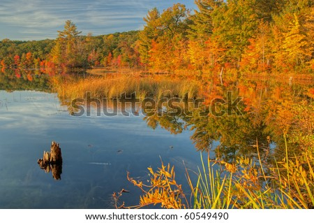 Autumn shoreline of Hall Lake with reflections in calm water, Yankee Springs State Park, Michigan, USA - stock photo