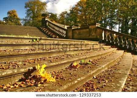 Autumn stairs in Berlin - stock photo