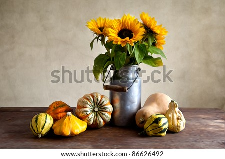 Autumn Still-Life Illustration with different shaped and colored pumpkins - stock photo