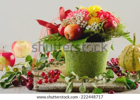 Autumn still life with  fruits and berries . Selective focus - stock photo