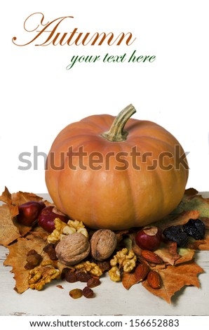 Autumn still-life with pumpkin, plums, autumn leaves, nuts as decoration - stock photo