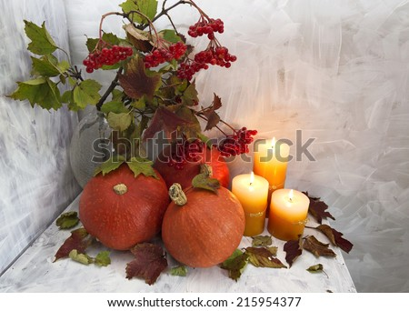 Autumn still life with pumpkins, viburnum berries and candles on white - stock photo