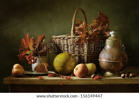 Autumn still life with red leaves - stock photo