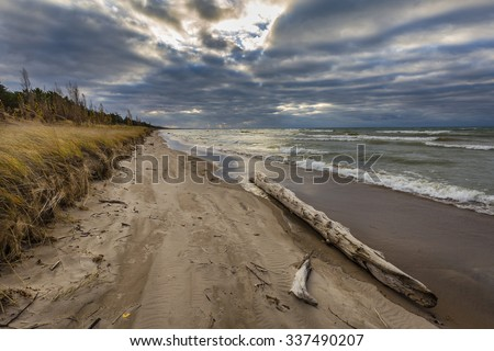 Autumn storm clouds form over driftwood on a Lake Huron beach - Pinery Provincial Park, Ontario, Canada - stock photo