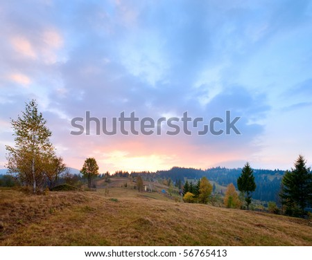 Autumn sunrise mountain view (Carpathian, Ukraine) - stock photo