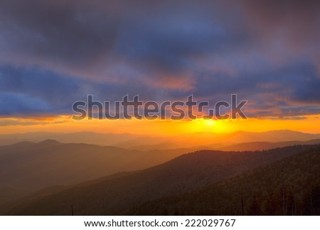 Autumn sunset from Clingmans Dome, Great Smoky Mountains National Park, Tennessee, USA - stock photo