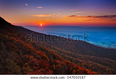 Autumn sunset over the Shenandoah Valley and Appalachian Mountains from Little Stony Man, in Shenandoah National Park, Virginia. - stock photo