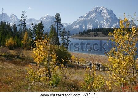 Autumn Tetons Lake View - stock photo