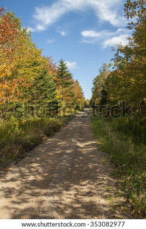Autumn trail in Nova Scotia, Canada. - stock photo