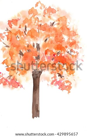 Autumn tree, watercolor hand painted - stock photo