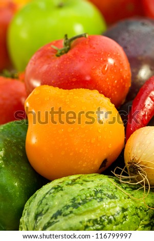 autumn vegetables, tomatoes, onions, peppers, eggplant, pumpkin - stock photo