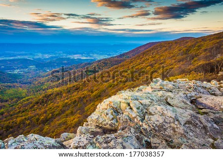 Autumn view from Crescent Rock, Shenandoah National Park, Virginia. - stock photo