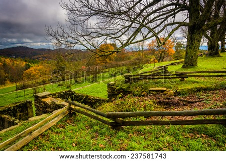 Autumn view from the Craft Center on the Blue Ridge Parkway, North Carolina. - stock photo