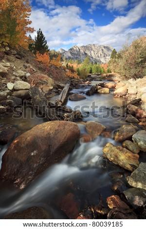 Autumn view of a creek near North Lake in Sierra Nevada mountains, California - stock photo