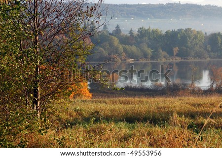 Autumn view of deer lake in Burnaby. - stock photo