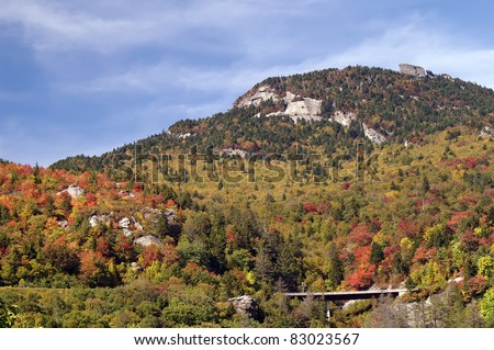 Autumn View Of Grandfather Mountain From Beacon Heights Trail, Blue Ridge Parkway, NC Horizontal With Copy Space - stock photo