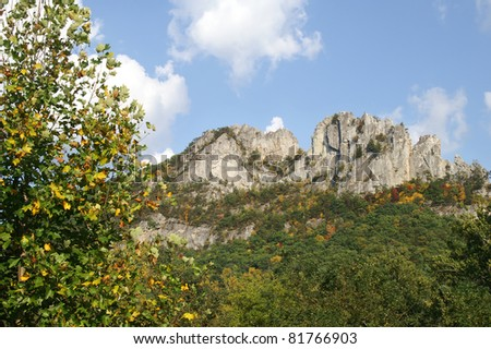 Autumn View of Seneca Rocks, West Virginia Horizontal With Copy Space - stock photo