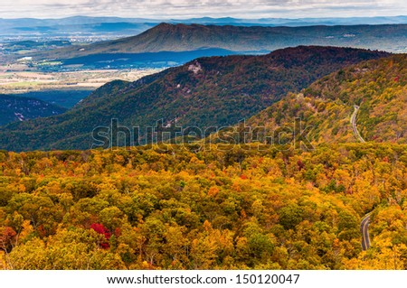 Autumn view of the Appalachians from Loft Mountain, Shenandoah National Park, Virginia. - stock photo