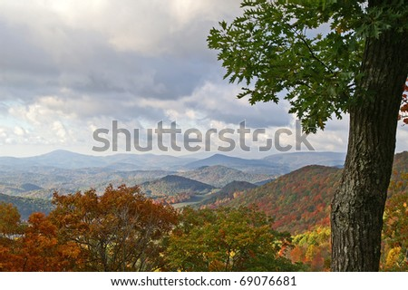 Autumn View of the Blue Ridge Mountains of North Carolina Horizontal With Copy Space - stock photo