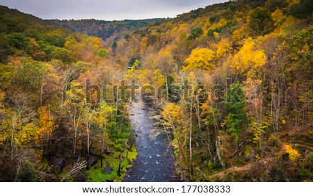 Autumn view of the Gunpowder River from Prettyboy Dam, in Baltimore County, Maryland. - stock photo