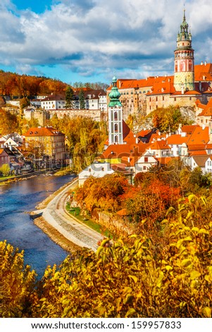 Autumn view on the Cesky Krumlov and Vltava river - stock photo