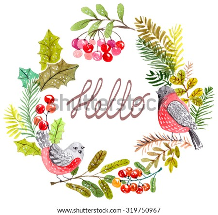 Autumn, winter wreath of leaves and branches hand drawn. Watercolor illustration with birds. Greeting card or Invitation. Autumn decor, Winter decor - stock photo