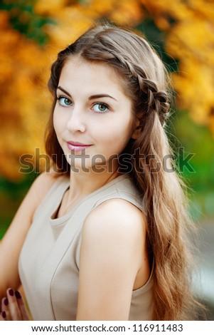 Autumn woman. - stock photo