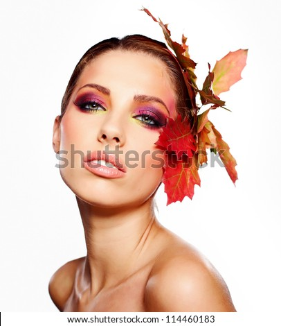 Autumn Woman. Beautiful creative makeup - stock photo