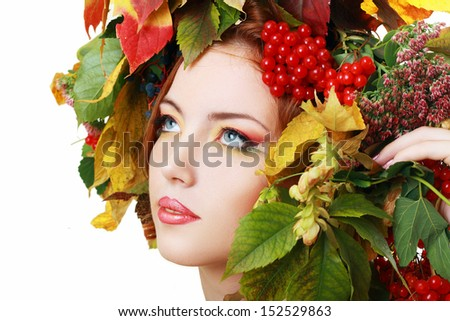Autumn Woman. Beautiful makeup isolated over white background - stock photo