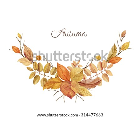Autumn wreath of leaves and branches hand drawn. Watercolor illustration. Greeting card or Invitation. Autumn decor - stock photo