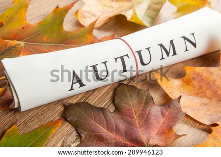 autumn written on newspaper and leaves - stock photo