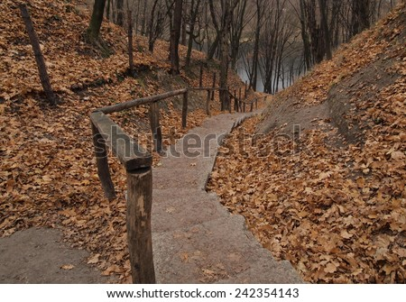 Autumn yellow and orange leaves and old stairs. Nature in October park. - stock photo