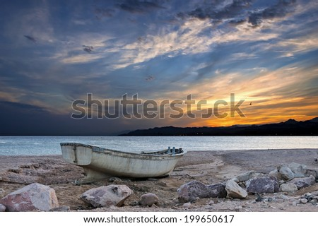 Autumnal heavenly sunset at the Red Sea - stock photo
