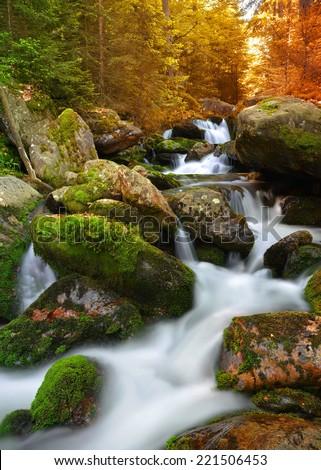 Autumnal landscape with mountain creek in national park Sumava - Czech Republic - stock photo