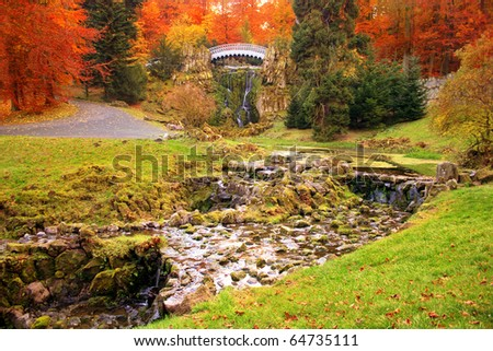 Autumnal Park Wilhelmshöhe in Kassel, Germany - stock photo