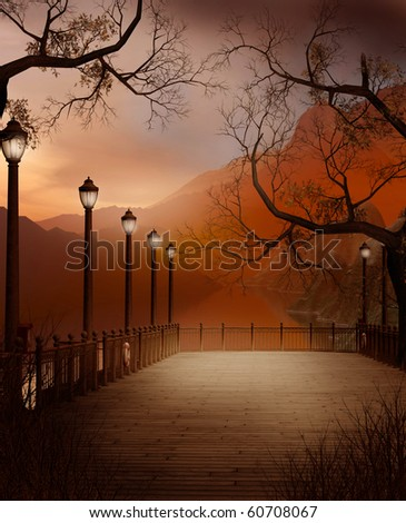 Autumnal scenery with a pier and lanterns - stock photo