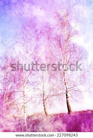 autumnal trees - styled picture - stock photo
