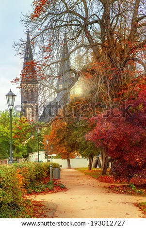 Autumnal view on the church of St. Peter and Paul in Prague, Czech Republic - stock photo