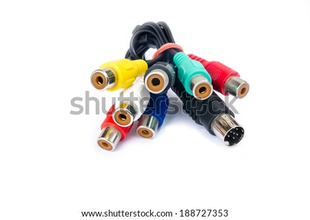 AV cables isolated on white background. - stock photo
