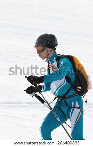 AVACHA, KORYAK VOLCANOES, KAMCHATKA, RUSSIA - APRIL 27, 2014: Ski mountaineer Konstantin Savchuk (Kamchatka). Team Race ski mountaineering Asian, ISMF, Russian and Kamchatka Championship. - stock photo