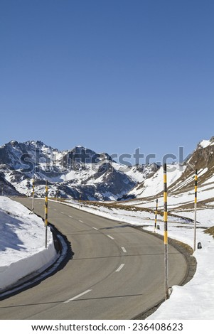 Available in winter - snow bars on the Albula Pass - stock photo