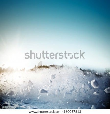 Avalanche in mountains. Real close-up photograph, fast snow motion towards camera - stock photo